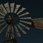 Colin Fletcher_Andreas M Cohrs_California hiking_Mojave Desert_Goffs wind mill night sky